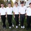 BRYAN EATON/Staff Photo. Amesbury High School golf seniors, from left, Dominic Tomkiewicz, Freddie Halloran, Padraich Flahardy, Brendan Foley and Kyle Patterson.