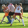 JIM VAIKNORAS/Staff photo Newburyport's Sky Harrington shot is stopped by Pentucket goalie Belle Smith during their game at Newburyport Friday. Newburyport won the game 2-0.