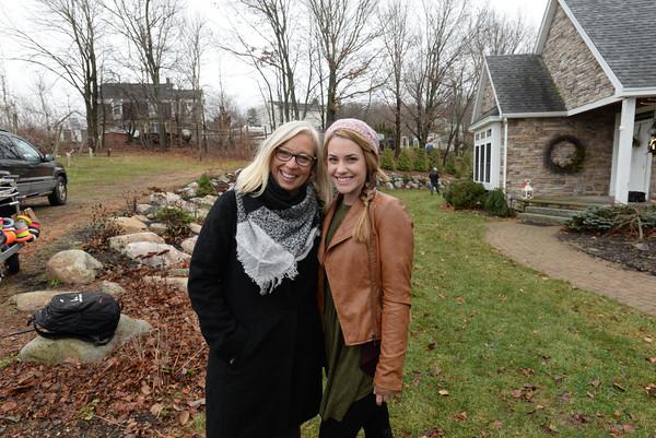 "BRYAN EATON /Staff photo  Amesbury's Karen Cook and star Anna Fricks on teh set of ""A Christmas Wish"" in Amesbury last December."