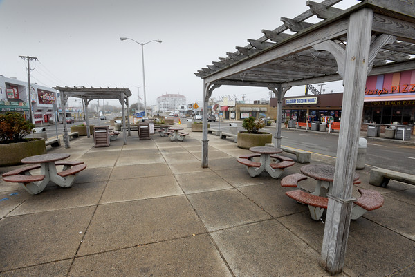 BRYAN EATON/Staff photo. Pergolas were installed in Broadway at Salisbury Beach some years ago to provide shade. The state has given money for welcome center the location of which is not yet been decided.
