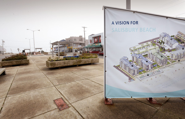 "BRYAN EATON/Staff photo. A schematic shows ""a vision for Salisbury Beach"" at the Broadway Mall. Development of Salisbury Beach by the Thompson Group years ago fizzled with the economic downturn."