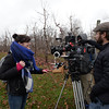 """BRYAN EATON/Staff photo The crew of """"A Christmas Wish"""" films at Cider Hill Farm in Amesbury last December."""