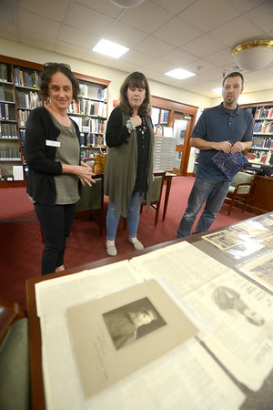 JIM VAIKNORAS/Staff photo  Director of the Archive Center at the Newburyport Library Sharon Spieldenner looks at a photograph of Artic Explorer and Newburyport native son Adolphus Washington Greely, the item was donated by Jeanette Nolan and Jon Warner of the Leeward Light Thrift Shop in Salisbury. The photo was found among some donated items at the store.