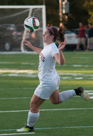 JIM VAIKNORAS/Staff photo   Newburyport's Sarah Riter controls the ball against Pentucket during the ALS cup in Newburyport Saturday night.