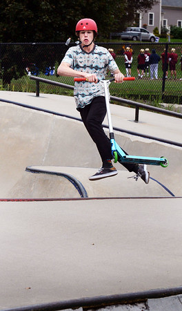 BRYAN EATON/Staff photo. Jimmy Gore, 14, of Newburyport goes through some moves at the Newburyport Skatepark behind the Nock Middle School. He was several friends at the park which opened 16 years ago.