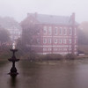 JIM VAIKNORAS/Staff photo The Newburyport Superior Court House sits shrouded in fog as seen from across the Bartlet Mall on a damp October Monday morning.