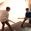 JIM VAIKNORAS/Staff photo Ibo Sava and Sam Walker rehearse  the Lord of the Flies at the Nock Middle School Friday.