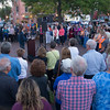 JIM VAIKNORAS/Staff photo People gather at a vigil in Market Square in Newburyport for Sunday's shooting in Las Vegas.