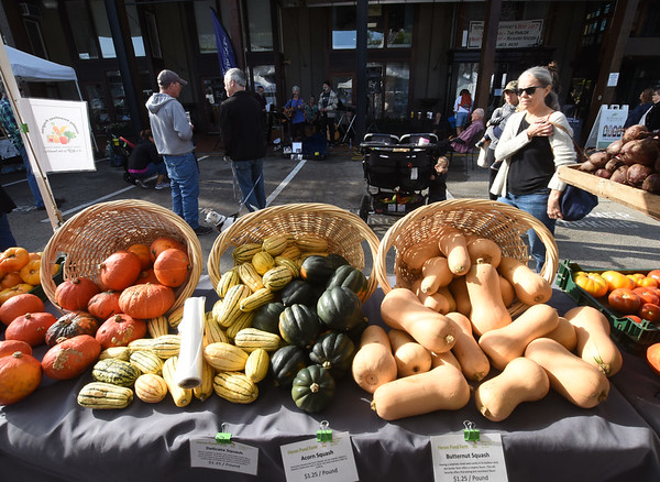 JIM VAIKNORAS/Staff photo A good verity of autumn vegetables are on display at the Newburyport Farmers Market at the Tannery Sunday morning.