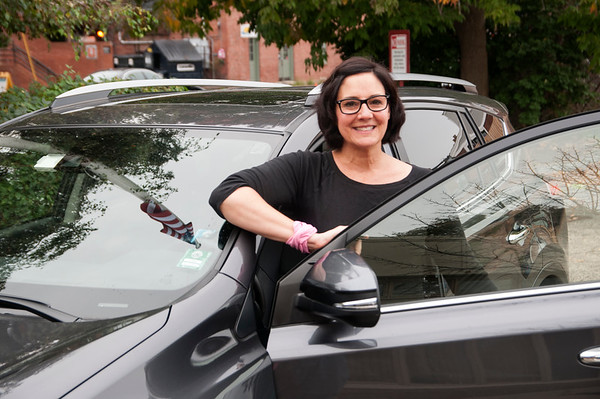 JIM VAIKNORAS/Staff photo Newburyport's Suzanne Camron owner of ride service There or Back Again.