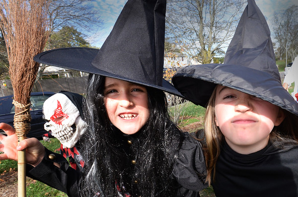 BRYAN EATON/Staff photo. There were a lot of witches in Bresnahan School's annual Halloween Parade including Abby Orem, left, and Maread Sullivan, both 8. There were also a lot of Dorothy's from the Wizard of Oz.