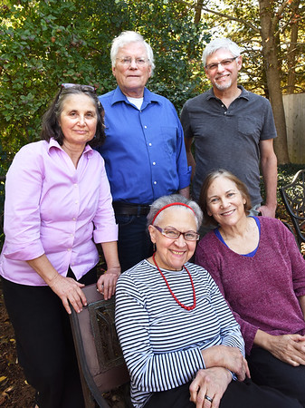 BRYAN EATON/Staff photo. Poet Rhina Espaillat, bottom, center, with Powow Poets, clockwise, Rebecca Robertson, David Davis, Alfred Nicol and Toni Treadway.