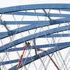 BRYAN EATON/Staff photo. There were worse places to work than amongst the cables high up on the new southbound span of the Whitter Bridge durings Wednesday's nice weather. That bridge is scheduled to open in the spring and the nice weather is to continue into the weekend.