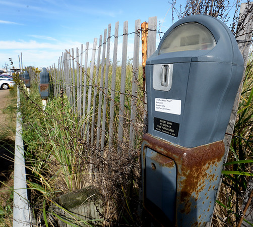 BRYAN EATON/Staff photo. These old parking meters in parts of Salisbury Beach could be replaced with a kiosk system where people can pay from their phones.