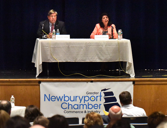 BRYAN EATON/Staff photo. Newburyport city councilor Robert Cronin and Mayor Donna Holaday met in their last debate at the Nock Middle School Wednesday night.