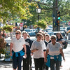 JIM VAIKNORAS/Staff photo A group of walkers head up Water Street during the Walkathon for Jeanne Geiger Center Sunday morning at Market Landing Park in Newburyport.