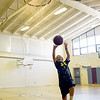 BRYAN EATON/Staff photo. Caden Delibero, 11, practices his basketball skills at the gym at the Newburyport Rec Center. He was waiting for some friends to show before they headed out to the outdoor basketball court.