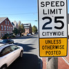 BRYAN EATON/Staff photo. New speed limit signs, this one on Merrimac Street near the Clipper City Rail Trail are appearing around Newburyport.
