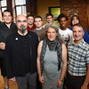 BRYAN EATON/Staff photo. Front, from left, Derek Hoffend, associate professor of Interactive Media at Becker College, Asia Scudder, Art Tech Innovation and Tom Bergeron, COO of Inventive Labs. Students back, from left, Brad Hegarty, John Lyons, Kyle Dundon, Elias Campanella, Colin Daniel and Nathan Boyce.