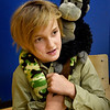 """BRYAN EATON/Staff photo. Max Zuercher, 9, portrays Steve Irwin, nicknamed """"The Crocodile Hunter"""" who was an Australian zookeeper and conservationist. He was at """"Dead and Famous"""" at the River Valley Charter School where students researched and presented a person from history."""