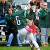JIM VAIKNORAS/Staff photo Pentucket's Justin Snow hauls in a touch down pass against Newburyport at Pentucket Saturday.