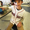 BRYAN EATON/Staff photo. Bresnahan School first-grader showed off his Red Sox pride during lunch at the Newburyport School. He stayed up to watch a lot of the final game of the World Series but had to go to bed.