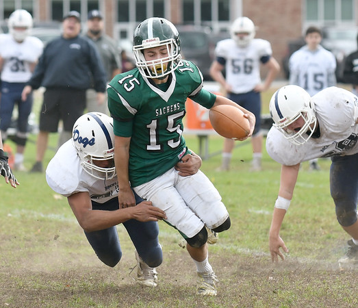 JIM VAIKNORAS/Staff photo Pentucket's Andrew Joyce fights for yardage at home against Rockland Saturday.