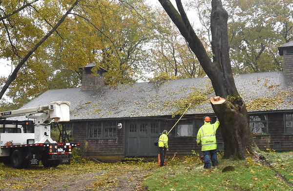 BRYAN EATON/Staff photo. The Maudslay Art Concert Barn was damaged by this tree during the weekend's storm. A crew from the DCR were in the process of taking the rest of the tree down Monday morning.