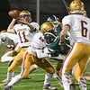 JIM VAIKNORAS/Staff photo  Newburyport's Charles Cahalane throws down field against Pentucket during their game Friday night at World War Memorial Stadium in Newburyport.