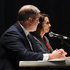 JIM VAIKNORAS/Staff photo Incumbent James Kelcourse and Jennifer Rocco Runnion debate at the Nock Middle School Wednesday night.