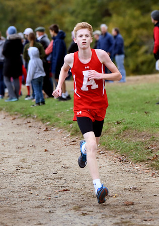 BRYAN EATON/Staff photo. Amesbury's first runner Cam Keliher.