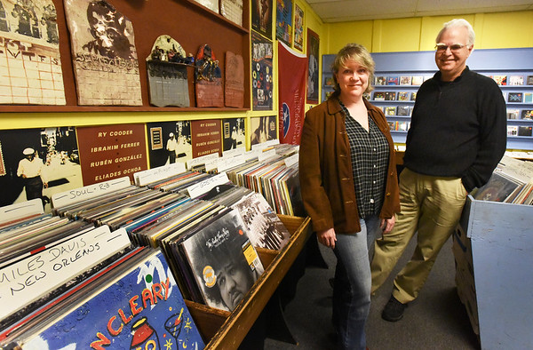 BRYAN EATON/Staff photo. Sally Delaney, left, is buying the business Dyno Records from longtime owner and founer Richard Osborne.