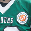 JIM VAIKNORAS/Staff photo A Pentucket football player wears a patch honoring alumni Reid Garrant, who passed away this past summer after battling leukemia.