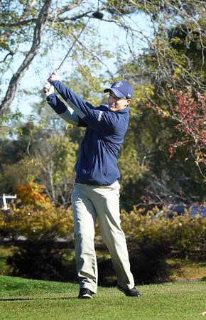 BRYAN EATON/Staff photo. Essex-Tech's Andrew Fournier tees off.