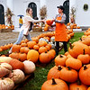 BRYAN EATON/Staff photo. Main Street Congregational Church volunteer Rachel Monroe, right, assists Eileen Foley of Portsmouth as she picks out a pumpkin at the Amesbury church. The congregation is once again selling pumpkins to support their mission work and are open every day from noon to 6:00p.m. with Saturday opening at 10.