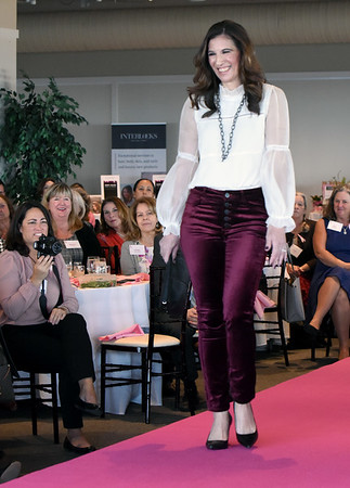 BRYAN EATON/Staff photo. Sonya Vartabedian, managing editor of features for North of Boston Media Group wears an Allen Schwartz piper blouse and Paige Hoxton black cherry velvet jeans.
