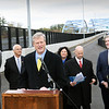 BRYAN EATON/Staff photo. Governor Charlie Baker speaks at the dedication of the Garrison Shared Use Path and the rededication of the Whittier Bridge. Behind is, from left, Salisbury Town Manager Neil Harrington, Amesbury Mayor Ken Gray, Newburyport Mayor Donna Holaday, Jonathan Gulliver, highway administrator the Mass. DOT, state Rep. James Kelcourse and Lt. Governor Karyn Polito.