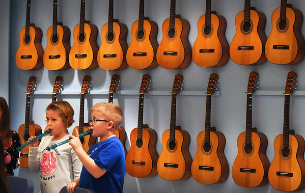 BRYAN EATON/Staff photo. Jayme Hill, left, and Frank Janvrin, both 8, learn basic notes on the recorder in Deb Walton's music class at Salisbury Elementary School on afternoon. When the third-graders move on to the fourth grade next year they will be able to join the beginners band.