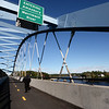 BRYAN EATON/Staff photo. Views of Deer Island and the Merrimack River looking east from the Garrison Shared Use Path over the Whittier Bridge.