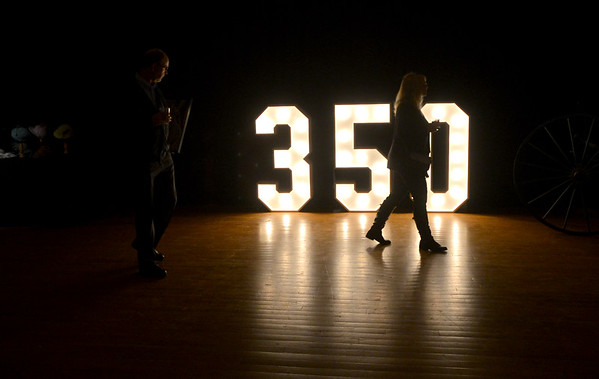 JIM VAIKNORAS/Staff photo  Lit numbers illuminate the dance floor at the Amesbury 350th Anniversary Gala at Coastal Connections Saturday night. The event was part of a year long city celebration and featured local catering, local beer and cider, and a performance by the Beantown Swing Orchestra.