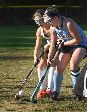 BRYAN EATON/Staff photo. Amesbury's LeBlanc and Triton's Gianna Conte battle it out at the sideline.