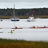 """BRYAN EATON/Staff photo. Nock Middle School seventh-graders leave Joppa Park boat ramp and head to Plum Island Point on Wednesday morning. The are doing a """"place based education"""" science unit on learning about the Merrimack River and environs."""