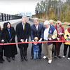 BRYAN EATON/Staff photo. Governor Charlie Baker leads the ribbon-cutting at the dedication of the Garrison Shared Use Path and the rededication of the Whittier Bridge.