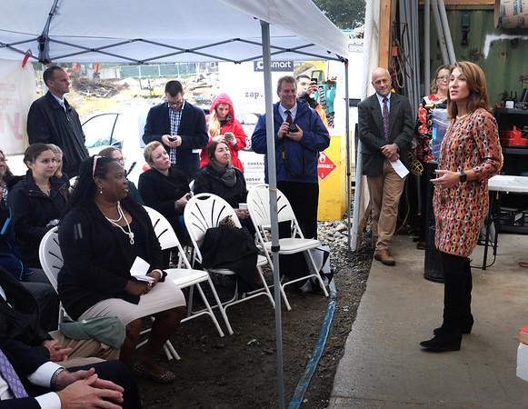 BRYAN EATON/Staff photo. Lt. Governor Karyn Polito was in Newburyport to present a grant for Hillside Center for Sustainable Living on Cottage Court. The complex will have 58 green units with ten that are considered affordable.