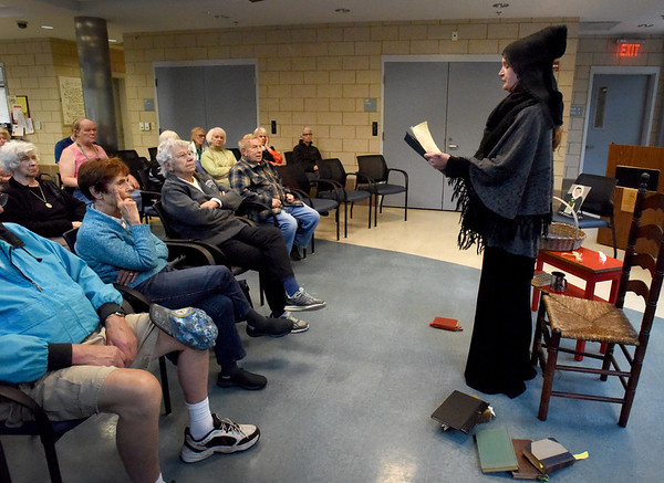 BRYAN EATON/Staff Photo. Amesbury resident and actress Christine Remus brought to life the story of Susannah North Martin, accused of being a witch, to a crowd of 20 at the Amesbury Senior Center on Wednesday afternoon. Martin, who was born in England in 1621 and moved with her family to Salisbury, in an area that later became Amesbury, in 1639. She was convicted of being a witch and was hung near Gallows Hill in Salem on July 19, 1692.