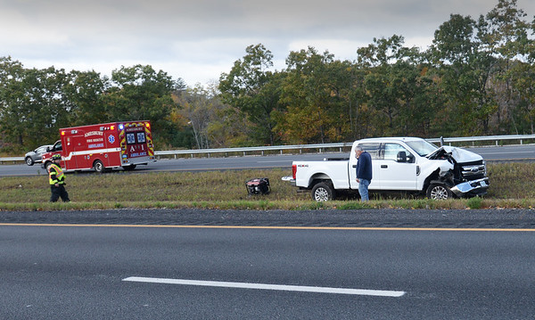 BRYAN EATON/Staff Photo. One of several vehicles involved in a chain reaction collision that occured in the northbound lane of Interstate 95 in  Amesbury, just north of the Whittier Bridge, when a barrel fell off a truck. There were no serious injury in the 9:45 a.m. Friday incident.