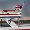 BRYAN EATON/Staff Photo. The wind was strong at Plum island Point on Wednesday afternoon as evidenced by the horizonal U.S. flag atop the Captain's Lady III. It stays windy into Friday with periods of rain as well.