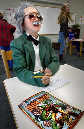 BRYAN EATON/Staff Photo. Ginger Thompson, 9, from the River Valley Charter School dressed up as Stanley Lieber, a.k.a. Stan Lee, the famous comic book writer, editor and publisher and was Marvel Comics primary creative force for two decades.