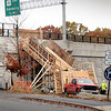 BRYAN EATON/Staff Photo. A stairway is being constructed from the Garrison Trail down to the Amesbury Visitor Center next to the Interstate 95 bridge over Main Street.