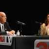 BRYAN EATON/Staff photo. Amesbury Mayor Ken Gray and challenger Kassandra Gove went over several topics Thursday night.